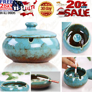 Lependor Ceramic Ashtray With Lids Windproof Cigarette For Indoor Outdoor Tray