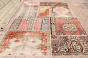7.8x10.9 Patchwork Turkish Vintage Rug Authentic Home Decor Bohemian Faded Red
