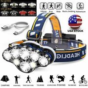 990000lm Cob Led Headlamp Usb Rechargeable Headlight 8 Modes Head Torch
