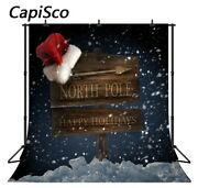 Photography Backdrop Christmas Road Sign For North Pole Snowflake Snow