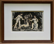 Listed American Artist Max Weber Signed Original Lithograph Hand Colored Pastel