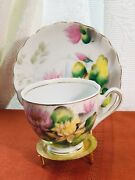 Vintage Kasuga Ware Fine China Japanteacup And Saucer Flower Of Month Water Lily7