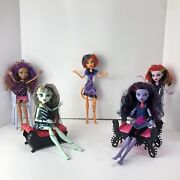 5 Monster High Dolls Lot Furniture Not Included