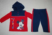 Baby Boys Mickey Mouse Hooded L/s T-shirt And Knit Pants Nb 0-3 3-6 6-9 18 24 Mo