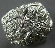 Estate Extra Large .54ct Diamond 14kt White Gold 3d Multi Butterfly Love Ring