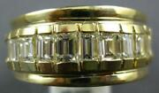 Estate Wide 1.46ct Diamond 14kt Yellow Gold 3d Baguette Channel Anniversary Ring