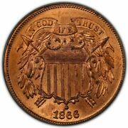 1866 2c Two Cent Piece Pcgs Ms65rd