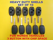 Set Of 10 New Heavy Duty Remote Head Key Shell Case 3 Button With Chip Space