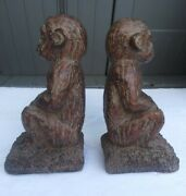 Melannco The Keeper Of Memories Pair Of Textured Monkeys Bookends