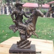 Western Pure Bronze Marble Abstract West Cowboys Ride Horse Deco Art Sculpture