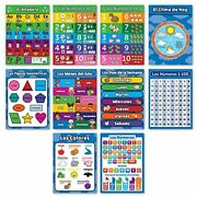 10 Spanish Educational Posters For Toddlers - Abc Alphabet, Numbers 1-10, Days