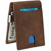 Premium Leather Metal Money Clip Large Wallet For Men, Rfid Mens Clothing Store