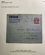 1946 London England Air Letter Front Cover To Alger Algeria