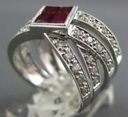 Large 1.52ct Diamond And Aaa Ruby 14k White Gold 3d Princess Criss Cross Love Ring