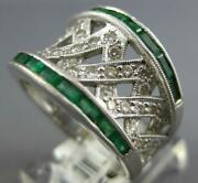 Large 1.98ct Diamond And Aaa Emerald 14kt White Gold Criss Cross Anniversary Ring