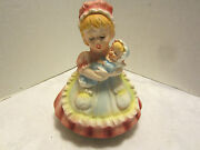 Vintage Ceramic Nurse Girl And Baby Shower Figurine Music Box Lullaby 1950and039s Japan