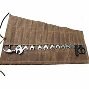 Tool Roll With 14 Pockets, Waxed Canvas Spanner Roll Bag, Tool Bag For Plier,