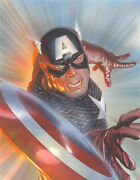 Alex Ross Signed Marvelocity Captain America Giclee On Canvas Limited Ed Of 100