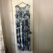 Plus Size Style And Co Black And White Crochet Back Sleeveless Maxi Dress Size 2x