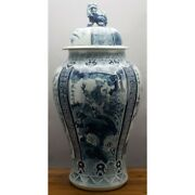 36 Chinese Oriental Blue And White Porcelain Phoenix Ginger Jar Foo Dog Finial