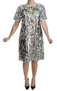Dolce And Gabbana Dress Silver Sequined Crystal Shift Gown It40 / Us6 /s Rrp 5000