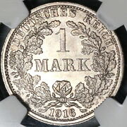 1916-f Ngc Ms 64 Germany 1 Mark Mint State Silver Coin 20071603c