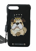 Dolce And Gabbana Phone Case Cover Black Leather Bulldog Studded Iphone7 Plus 300