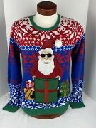 Jolly Sweaters Ugly Christmas Party Sweater Santa Claus Present L/s Menandrsquos Size M
