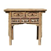 Chinese Vintage Drawer Raw Wood Rustic Side Table Cs5770