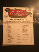 Ringling Brothers And Barnum And Bailey Circus Official Route Card - 1919