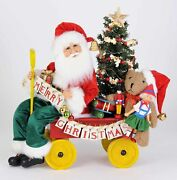 Christmas Decorations - Santa's Delivery Cart With Toys And Lighted Tree Figurine