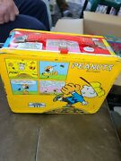 Vintage 1965 Peanuts Metal Lunchbox And Thermos - Baseball