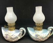 Vintage Napco Miniature Hand Painted China Oil Lamps Set Of 2