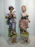 Capodimonte Figurines Of A Boy Musician And A Girl Dancer Set.made In Italy