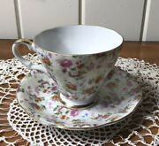 Vintage Lefton China Tea Cup And Saucer Floral Hand Painted