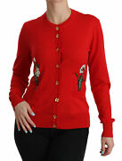 Dolce And Gabbana Sweater Red Wool Crystal Floral Cardigan It40/ Us6 / S Rrp 1800