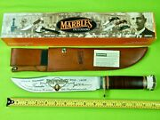 Marbles Browning Arms Commemorative Large Bowie Stag Engraved Knife And Sheath Box