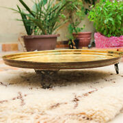 Old Vintage Moroccan Serving Brass Tea Tray Hammered Bronze Solid Table Legs Fez