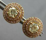 Large 1.29ct White And Fancy Yellow Diamond 18kt Rose Gold 3d Halo Stud Earrings