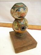 Early Kum 1950s Vintage Tin Litho Metal Clown Pencil Sharpener West Germany