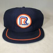 Vintage 80's Roadway Trucking Patch Snapback Trucker Hat Cap Mesh Made In Usa
