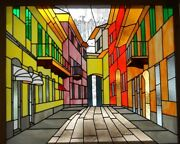 Street Scape Alba Italy - 34 X 28 Leaded Stained Glass Art Panel Window Hanging