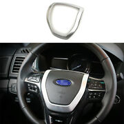 For Ford Explorer 2011-2018 2019 Abs Silver Steering Wheel Frame Cover Trim 1pcs