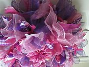 Deco Mesh Wreath, Outdoor/indoors Entry Way, Office, Pink/purple,ribbons, Summer