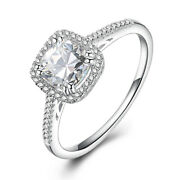 Cubic Zirconia Cushion 6x6mm Antique Simple Ring Solid 18k White Gold Engagement