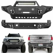 Steel Front Rear Bumper W/led Lights Winch Plate D-ings Fit Toyota Tacoma 05-15