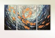 Original Realistic Abstract Painting Gold Fish Underwater Seaworld Sea Life Gift