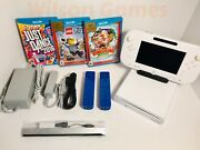 Nintendo Wii U White Console 8gb Bundle+3 Games And 2 New Wii Controllers