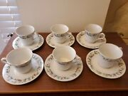Pre-owned, China Pearl Noel 6 Cup And Saucer Sets Gold Round Handles Fine China