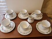 China Pearl Noel 6 Cup And Saucer Sets Gold Round Handles Fine China And Creamer